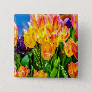 Tulip Flowers - Flourish Pinback Button