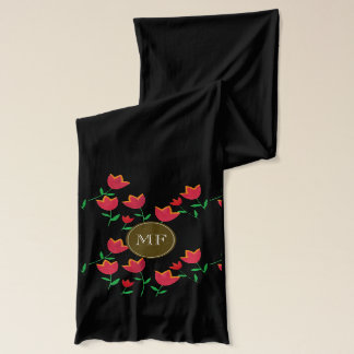 tulip flowers personalized name scarf