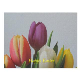 Tulip flowers Post card Easter aquarel painting