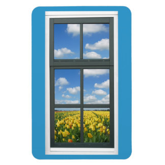 Tulip Flowers Window View Magnet