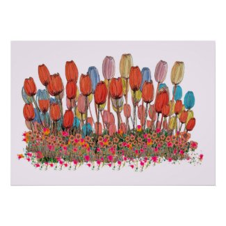 Tulip Garden Botanical Art Print