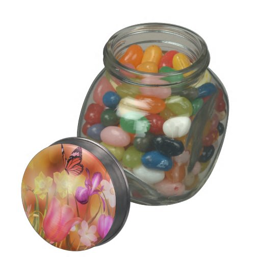 Tulip garden butterfly jellybean  jars and tins jelly belly candy jar
