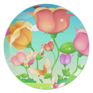 Tulip Garden Butterfly Plate