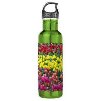 Tulip Garden Floral Photo Water Bottle