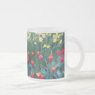Tulip Garden Frosted Glass Coffee Mug