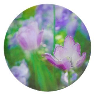 Tulip garden, Giverny, France Melamine Plate