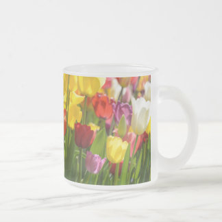 Tulip Garden in the Spring Frosted Glass Coffee Mug
