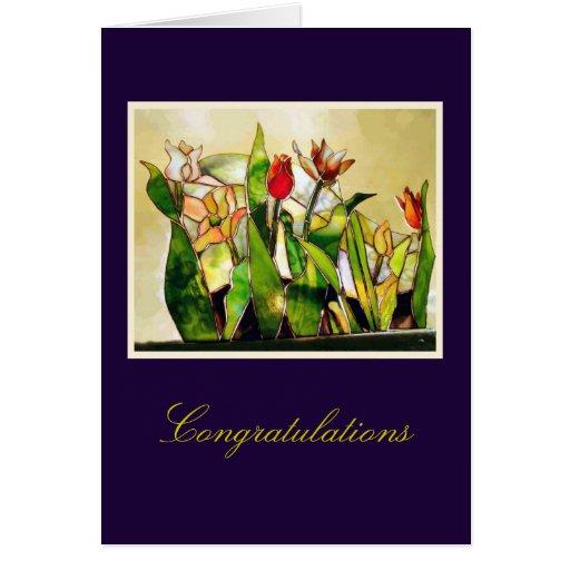 Tulip Garden Lovely Congratulations Greeting Card