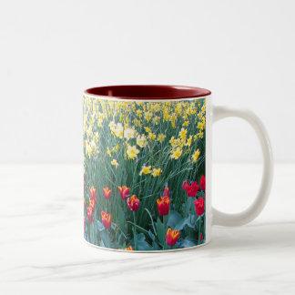 Tulip Garden Two-Tone Coffee Mug