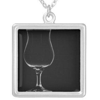 Tulip glass square pendant necklace