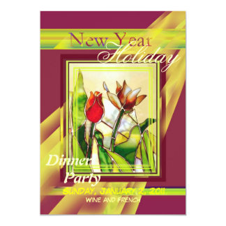 Tulip Ground Red and Gold Party Invitation