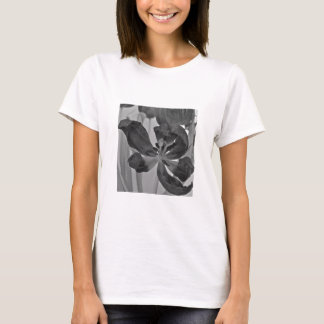 Tulip in Black and White Fitted Womens Tee Shirt