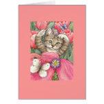 Tulip Kitten Blank Note Card