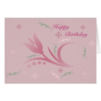 Tulip Mist in Pink Birthday Card