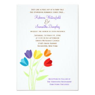 Tulip Multi-color Rainbow Wedding Invitation