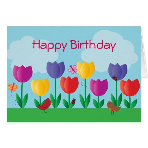 Tulip Nature Garden Happy Birthday Greeting Card Zazzle