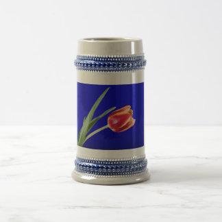 Tulip on blue background beer stein