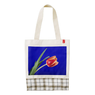 Tulip on blue background zazzle HEART tote bag
