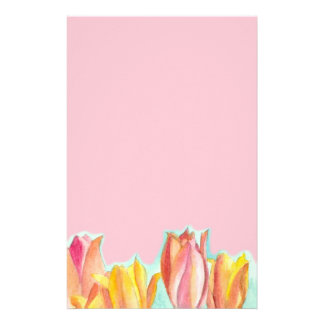 Tulip Pink Stationery Paper Watercolor Floral Art