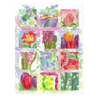 Tulip Poppy Rose Red Flower Collage Postcard