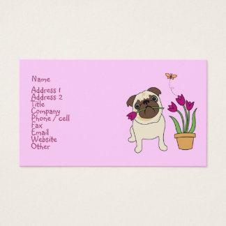 Tulip Pug and Butterfly Business Cards