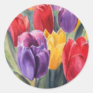 Tulip rainbow classic round sticker