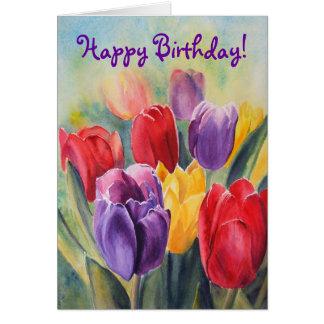 Tulip rainbow - Happy Birthday! Card