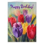 Tulip rainbow - Happy Birthday! Greeting Card