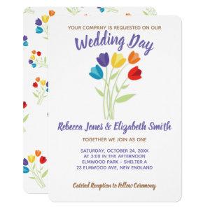 Tulip Rainbow Lesbian Gay Wedding Invitation