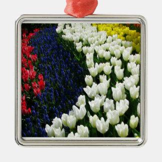 Tulip Rainbow Wave Metal Ornament