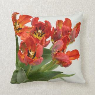 Tulip red Throw Pillows