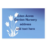 Tulip Silhouette, White on Blue Customizable Business Card