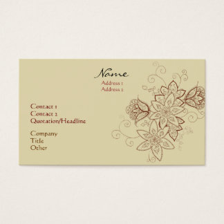 Tulip Tattoo Business Cards (Sand)