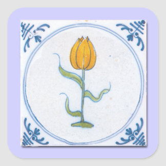 Tulip Tile Art with Blue and White Square Sticker
