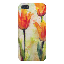 tulips, flowers, watercolors, art, ginette, floral, yellow, red, green, nature, artsy, atistic, artful, contemporary, [[missing key: type_photousa_iphonecas]] com design gráfico personalizado