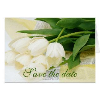 Tulip white flower card