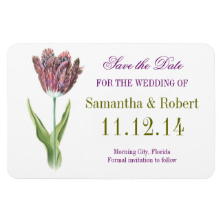 tulip white save the date wedding magnets