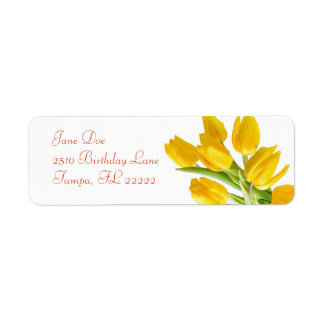 Tulipán amarillo etiqueta de remite
