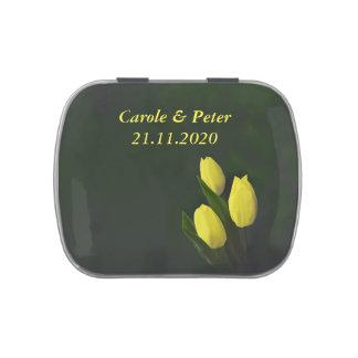 Tulipán amarillo personalizado casando la lata del latas de caramelos