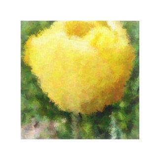 Tulipán amarillo pintado impresión en tela