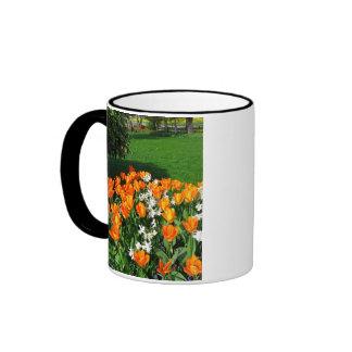 Tulipán anaranjado en productos múltiples taza a dos colores