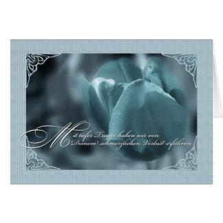 Tulipán azul de la tarjeta de condolencia de la le