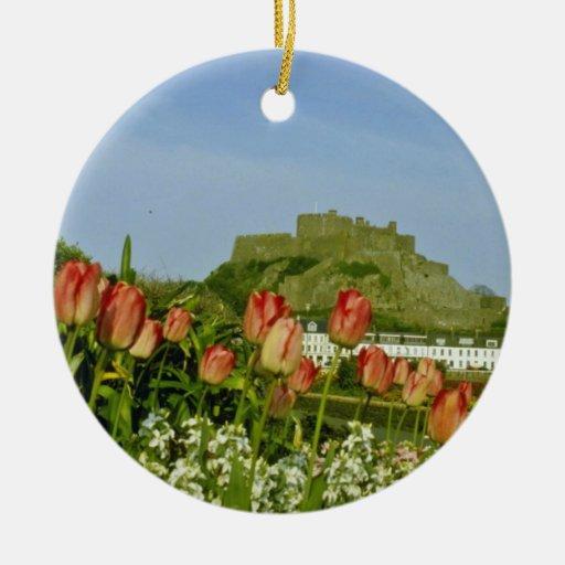 Tulipán blanco florecido en las flores de Gorey Ornamento De Navidad