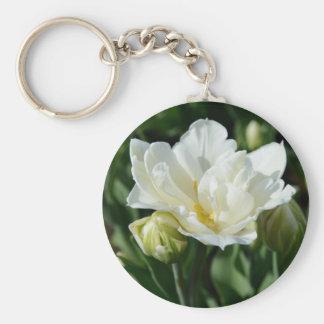 Tulipán blanco llaveros