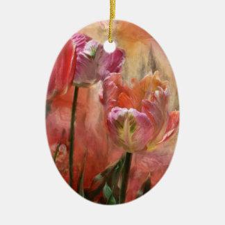 Tulipán-Colores del ornamento del arte del amor Ornaments Para Arbol De Navidad