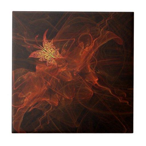 Tulipán de la mariposa de la luciérnaga tejas  ceramicas