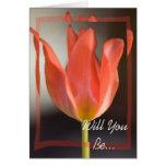 Tulipán de la primavera roja usted será mi dama de felicitación