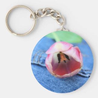 Tulipán de reclinación llavero redondo tipo pin