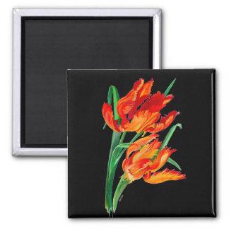Tulipán del loro (paisaje del png) iman de frigorífico