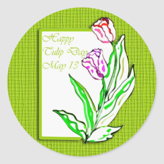 Tulipán día 13 de mayo feliz pegatina redonda